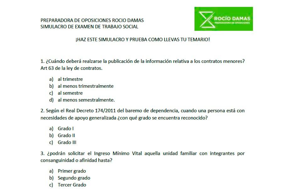 Simulacro examen trabajo social Andalucia